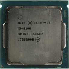 Процессор БУ INTEL CORE I3-8100 [Socket 1151 v2. 4-ядерный. 3600 МГц. Coffee Lake-S. Кэш L2 - 1 Мб. Кэш L3 - 6 Мб. Intel UHD Graphics 630. 14 нм. 65 Вт]