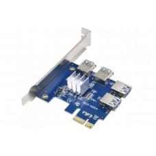 Удлинитель ACS-A204 PCIe 1X to 4-Port PCIe 16X Multiplier Card for Bitcoin Miner