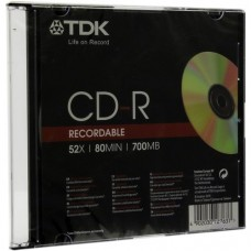 Диск cd-r Tdk 700mb 52xk sjc printable Slim box