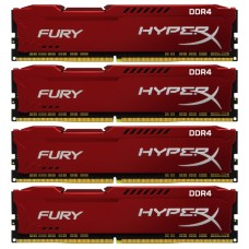 Оперативная память Kingston Hyperx fury hx424c15fr2k4/32 32gb 2400mhz ddr4 cl15 dimm (kit of 4) red HX424C15FR2K4/32