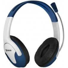Гарнитура Defender Bravo 116 белый+синий 1.8 м кабель 63116