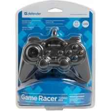Геймпад Defender game racer Turbo rs3 usb 12 кнопок + два аналоговых джойстика + кнопка auto12 64251