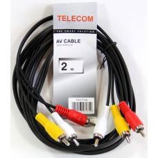 Кабель соединительный 3xRCA (M) - 3xRCA (M). 2m Telecom .TAV7150-2M. TAV7150-2M