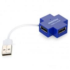 Разветвитель USB 2.0 HUB Smartbuy 4 порта голубой (SBHA-6900-B)