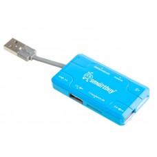 Разветвитель USB 2.0 HUB Хаб + Картридер Smartbuy Combo голубой (SBRH-750-B)