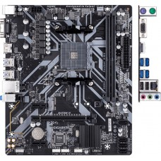 Материнская плата Gigabyte B450M H, Socket AM4, AMD B450, 2xDDR4-2933, D-SUB+HDMI, 1xPCI-Ex16, 2xPCI-Ex1, 4xSATA3(RAID 0/1/10), 1xM.2, 8 Ch Audio, GLan, (2+4)xUSB2.0, (4+2)xUSB3.1, 2xPS/2, mATX, RTL {10}