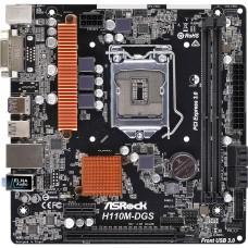 Материнская плата БУ ASRock H110M-DGS [LGA 1151. Intel H110. 2xDDR4-2133 МГц. 1xPCI-Ex16. аудио 7.1. Micro-ATX]