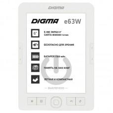 Электронная книга DIGMA R63W WHITE [электронная книга с ч/б экраном 6''. E-Ink Carta. с подсветкой. разрешение 800x600. 16 оттенков серого. карты памяти microSD. microSDHC]