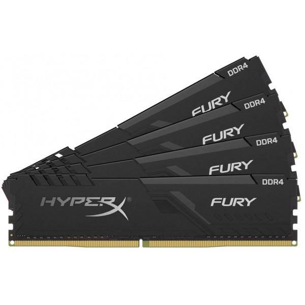 Модуль памяти Kingston DRAM 16GB 2400MHz DDR4 CL15 DIMM (Kit of 4) HyperX FURY Black EAN: 740617293463
