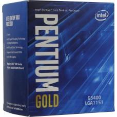 Процессор INTEL PENTIUM GOLD G5400 BOX [Socket 1151 v2. 2-ядерный. 3700 МГц. Coffee Lake-S. Кэш L2 - 0.5 Мб. Кэш L3 - 4 Мб. Intel UHD Graphics 610. 14 нм. 54 Вт]