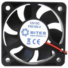 Вентилятор 50 mm. 5Bites (f5010s-2). 4500rpm. 24dba. 2 pin. h=10mm. подшипник скольжения (oem) F5010S-2