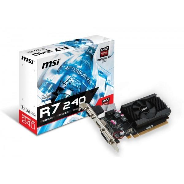 Видеокарта MSI PCI-E R7 240 1GD3 64b LP AMD Radeon R7 240 1024Mb 64bit DDR3 600/1600 DVIx1/HDMIx1/CRTx1/HDCP Ret low profile R72401GD364BLP