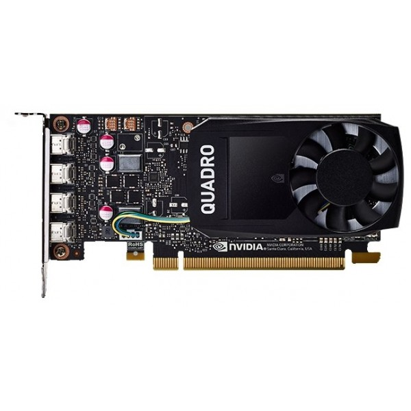 Проф видеокарта 4gb .pci-e. Pny Nvidia quadro p1000 .gddr5. 128 bit. 4*mdp. low profile. atx+lp bracket. 4xmdp to dvi adapter. retail. VCQP1000DVI-PB