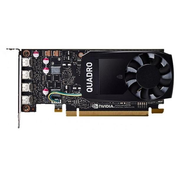 Видеокарта PNY NVIDIA Quadro P1000, 4 GB GDDR5/128-bit, , 4×mDP1.4 (4×mDP to DVI-D SL adapter), 47 W, 1-slot cooler,PCI Express 3.0 x16,VCQP1000DVI-PB